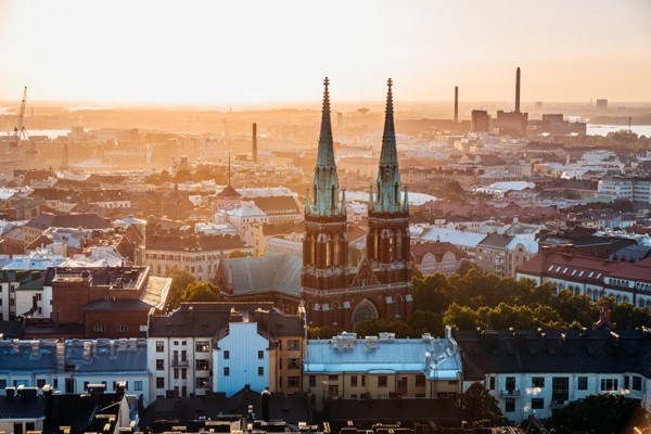 aerial view of St. John's Church in Helsinki