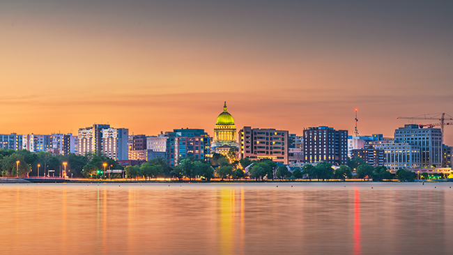 Madison, Wisconsin at dawn